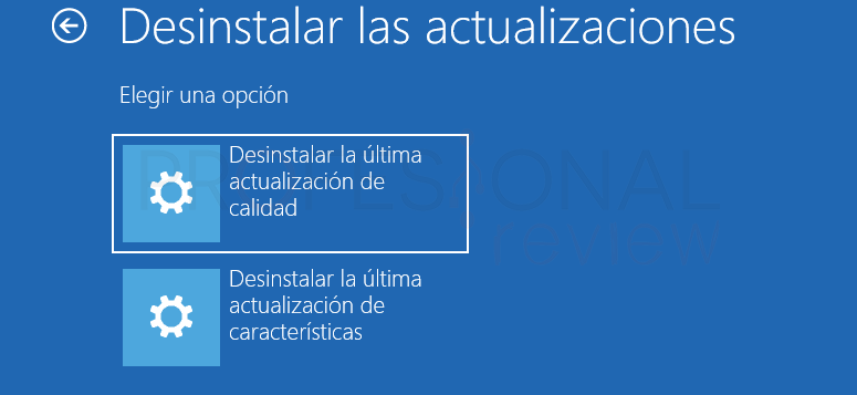 como desinstalar las actualizaciones de Windows 10