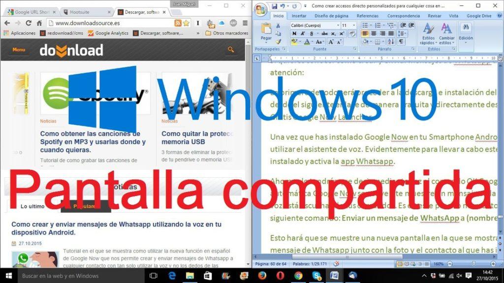 dividir la pantalla en dos en Windows 10, 8 y 7