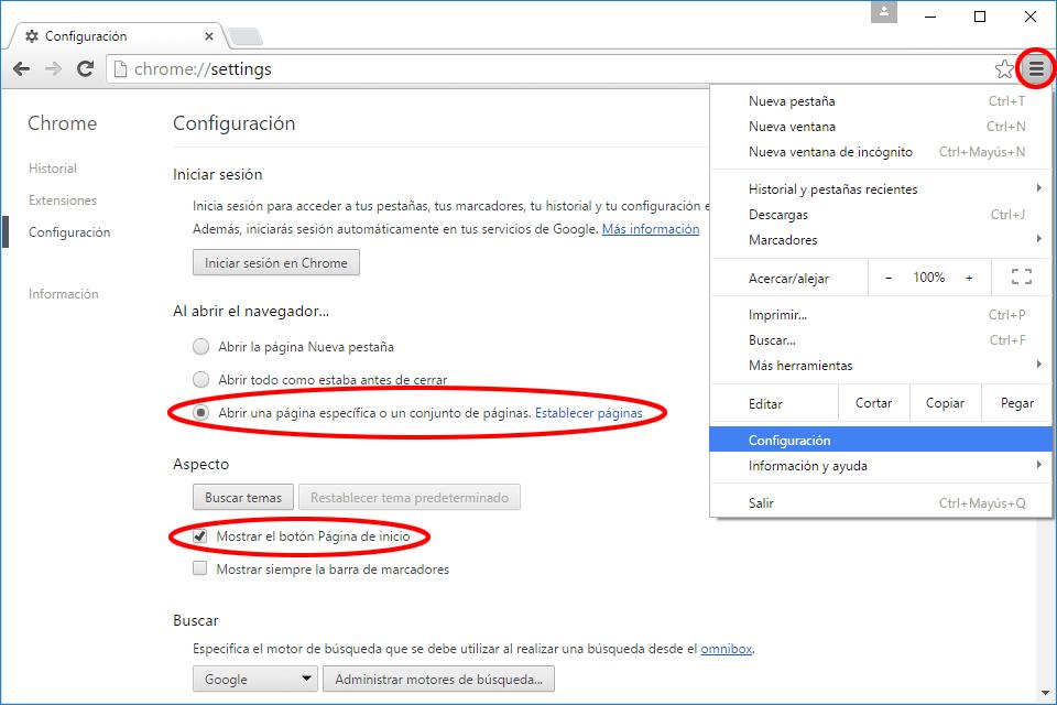 como poner Google como página de inicio