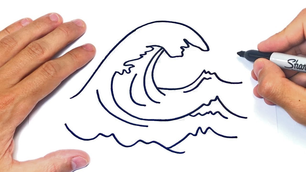 como dibujar las olas del mar