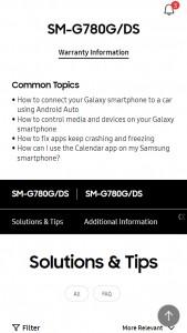 Samsung Galaxy S20 FE (4G pero con Snapdragon 865): página de soporte para SM-G780G / DS