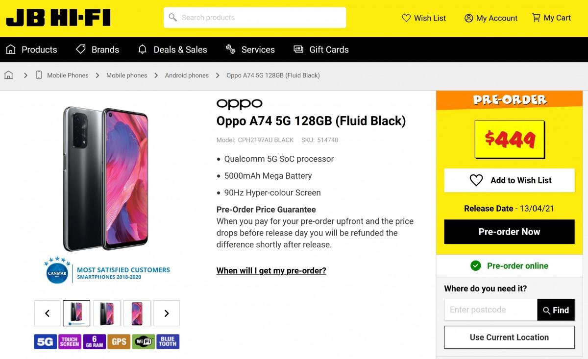 La lista de la tienda Oppo A74 5G incluye una pantalla LCD de 90Hz, una configuración de cámara cuádruple y un precio de $ 340
