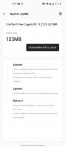 Notificación de actualización de Oxygen OS 11.3.3.3 para OnePlus 9 Pro
